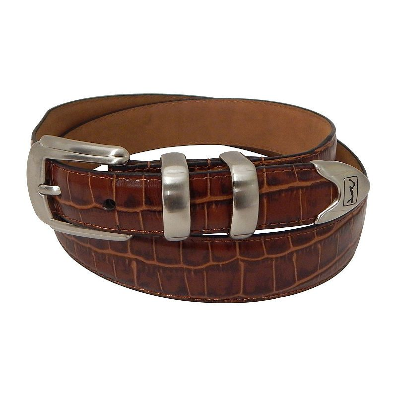 Brown PGA Tour Crocodile Print Leather Belt