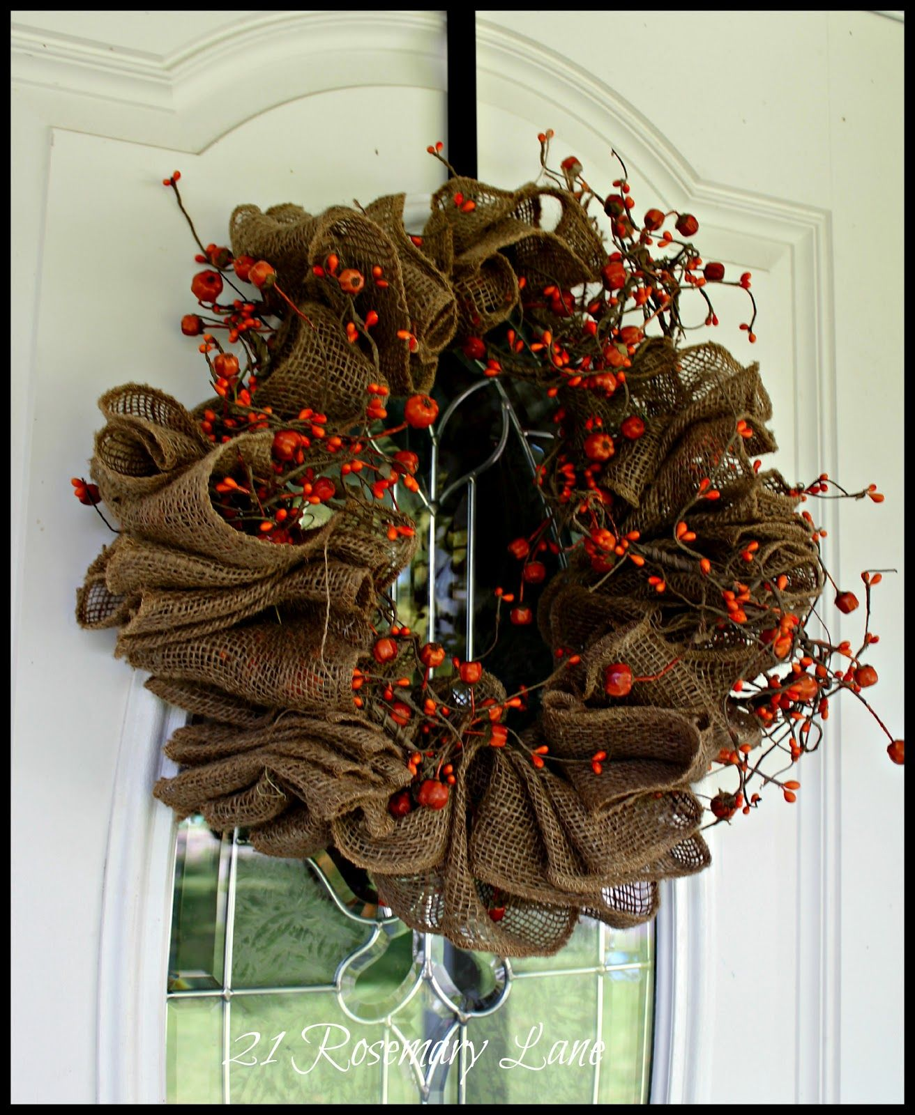 21 rosemary lane easy fall burlap wreath instructions use for Burlap ribbon craft ideas