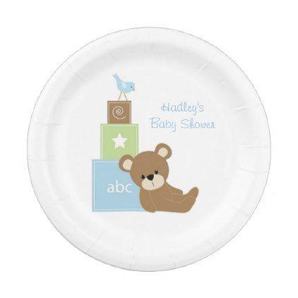 sc 1 st  Pinterest & Teddy Bear Green and Blue Blocks Paper Plates | Blue block