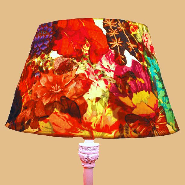 Mod Podge + floral fabrics + Mallory's old lampshade = lots of color
