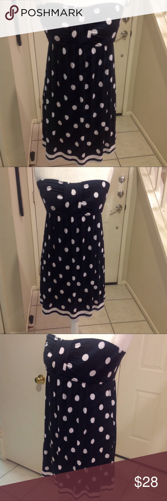 """Black/White Strapless Polka Dot Dress 24"""" long, 19"""" across back. Elastic in bust to give very secure fit that stays put. Side pockets. 90% polyester, 10% spandex. Soma Dresses Strapless"""