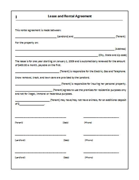 Printable Sample Rent Lease Agreement Form
