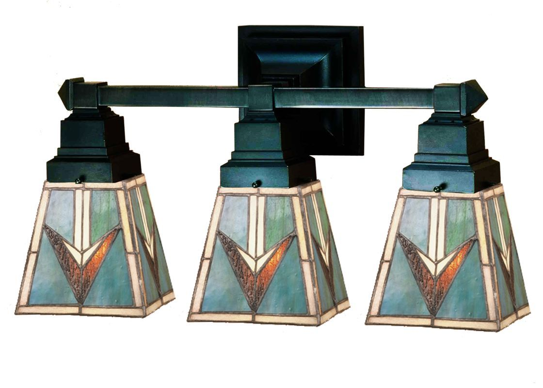 Beige Cone Shade Stained Glass Tiffany 3 Light Bathroom Lighting