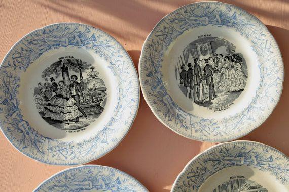 French antique Paris au bal plates. Set of 4. by BoiteAMerveilles & French antique Paris au bal plates. Set of 4. by BoiteAMerveilles ...