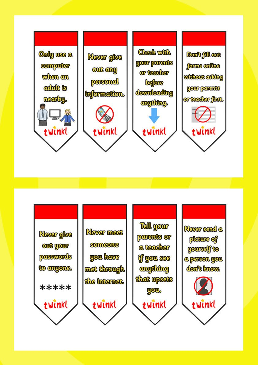 Internet Safety Bookmarks. Internet safety week - twinkl | KS2 ...