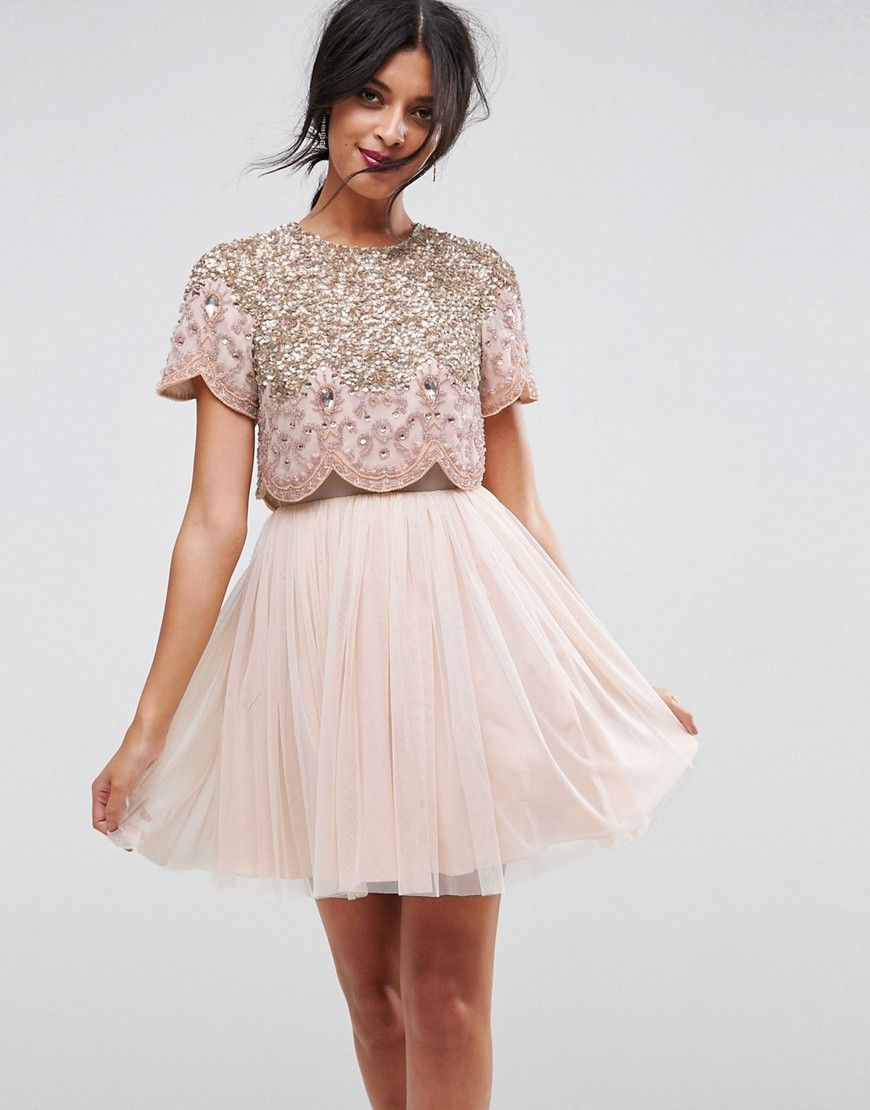 ASOS Heavily Embellished Tulle Mini Prom Dress - Beige | Holiday ...