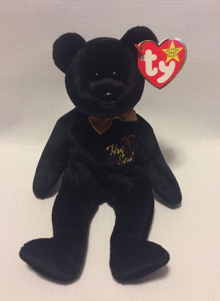 cbe50a3a731 NWT RARE  The End  Bear Beanie Baby w  Flat Tush tag   Errors  TY
