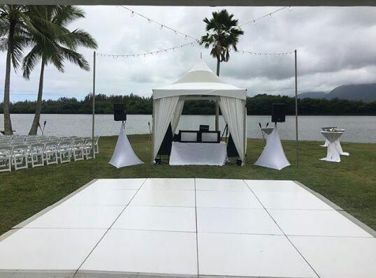 16x16 White Dance Floor With 10x10 Skylight Marquee Tent For Dj Skylight Dance Floor Tent