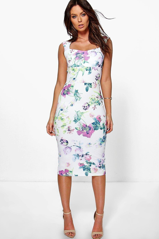 Rosalinda Floral Sweetheart Midi Dress Boohoo Uk Maxi Dress Evening Dresses Women Dress Online [ 1500 x 1000 Pixel ]