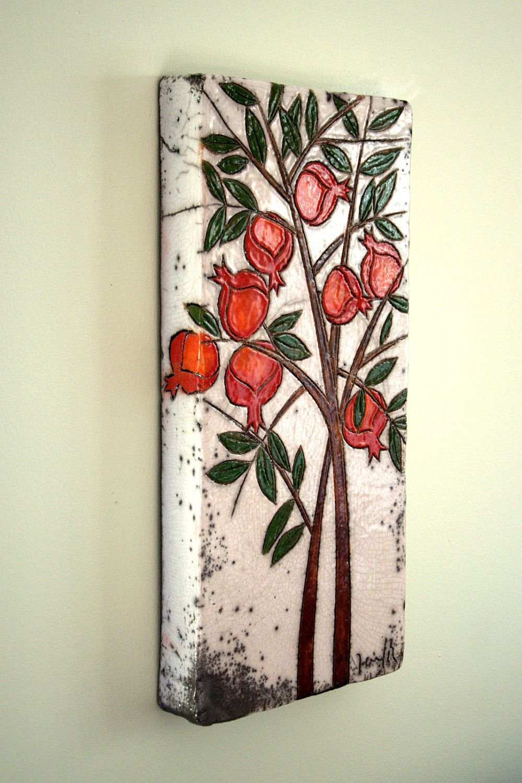 Etsy Art Pomegranate Tree Ceramic Wall Art By Derinmavibodrum On Etsy