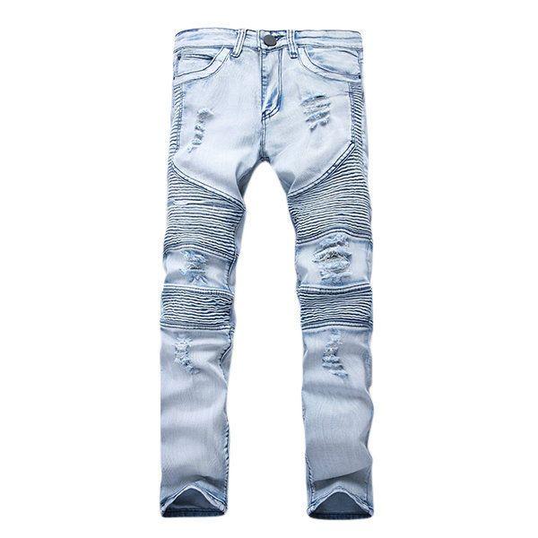 Mens Stretchy Ripped Skinny Biker Jeans Destroyed Taped Slim Fit Denim Pants