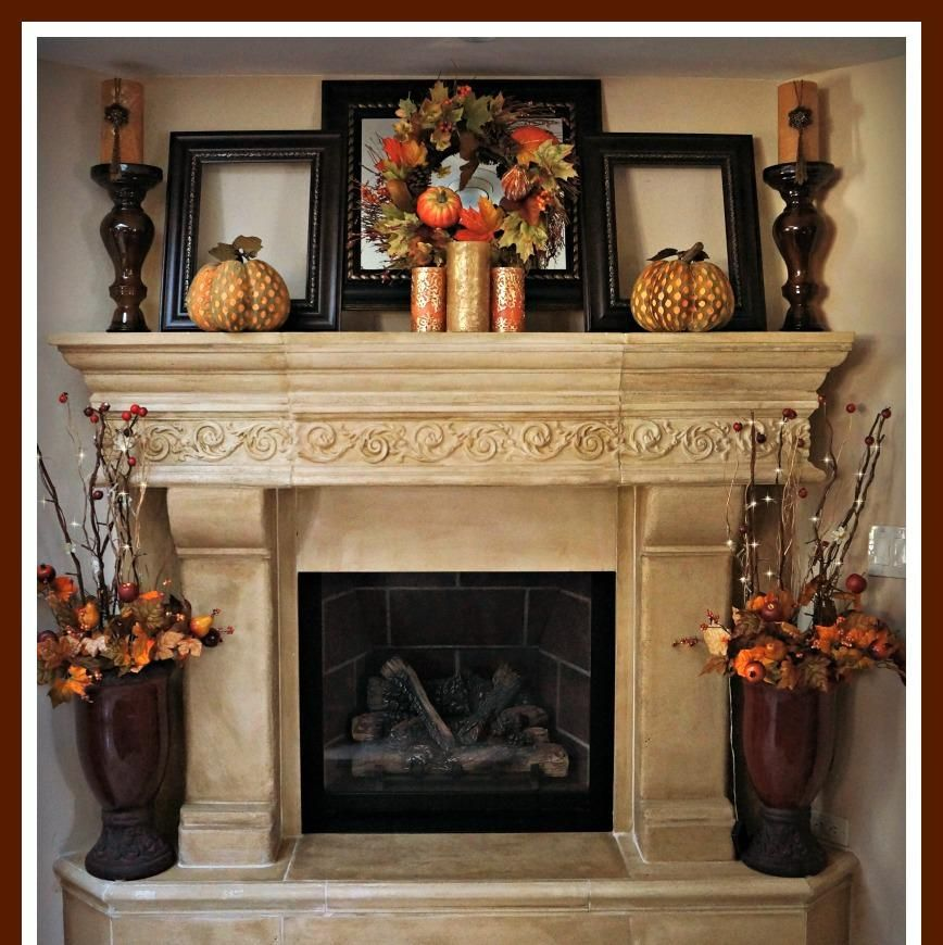 Brick Rustic Mantel Decor For Classic Fireplace With Frame And Candles Fall Mantle Decor Fall Home Decor Fireplace Mantel Decor
