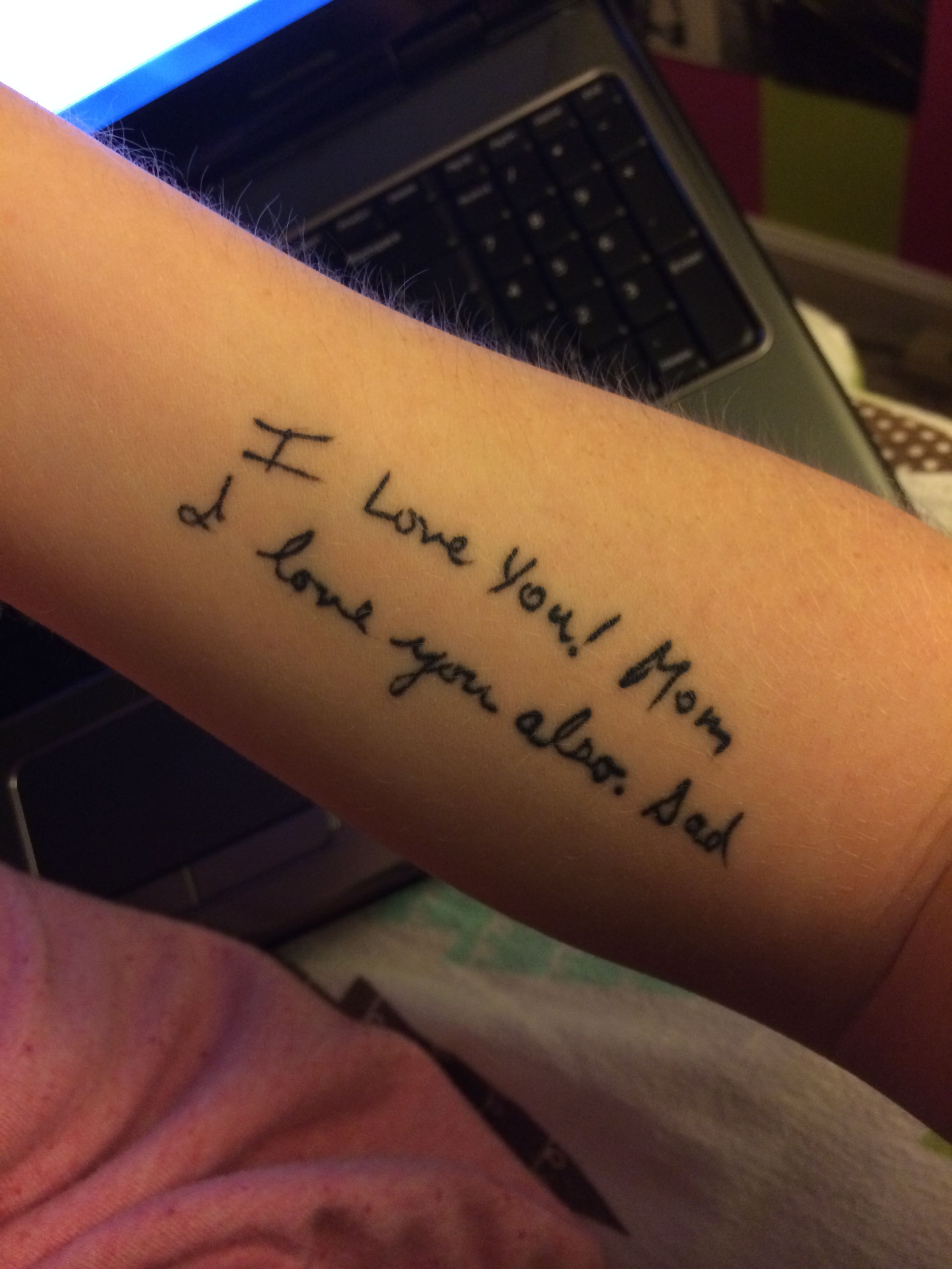 Parents Handwriting Tattoo