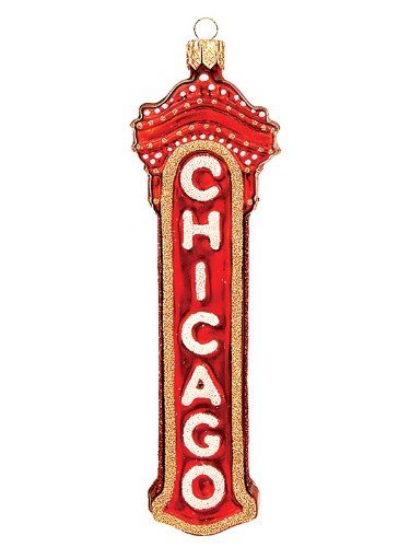 chicago marquee sign polish mouth blown glass christmas ornament - Chicago Christmas Ornaments