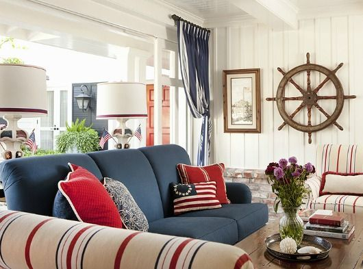 Navy Blue Sofa Idea... Http://www.completely Coastal.com/2017/01/blue Sofa  Decor Ideas.html Blue And Red Nautical Home.