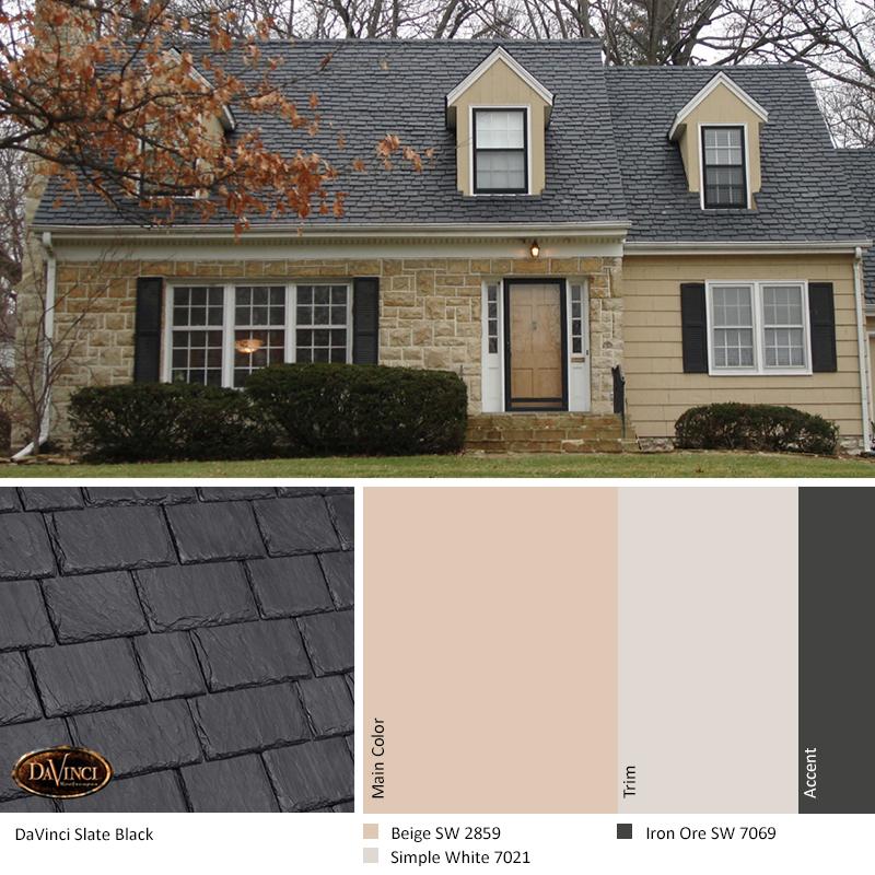 Best Exterior Color Scheme Slate Black Davinci Slate Roof 640 x 480
