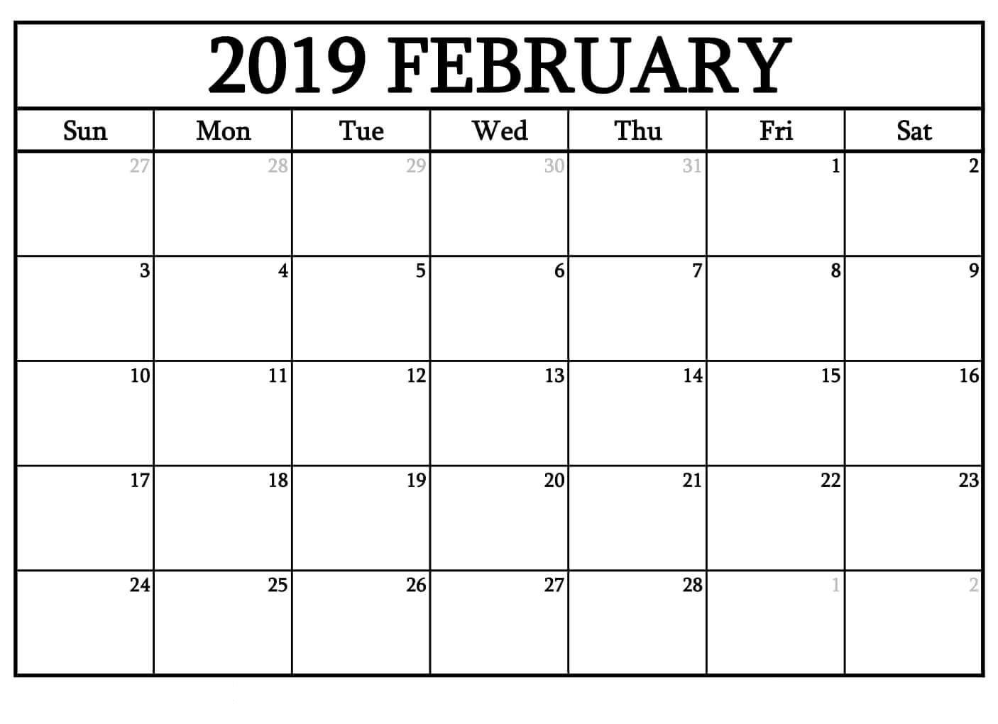 Blank February 2019 Calendar Stylish Design Calendar Printables