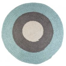 AuBergewohnlich Sebra Häkel Teppich Rund Blau Grau