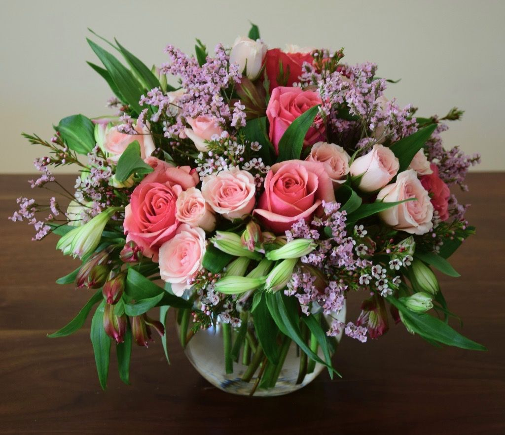 Flower Bowl With Alstroemeria Roses Sprays And Fillers Floral Arrangements Fresh Flowers Arrangements Flower Arrangements