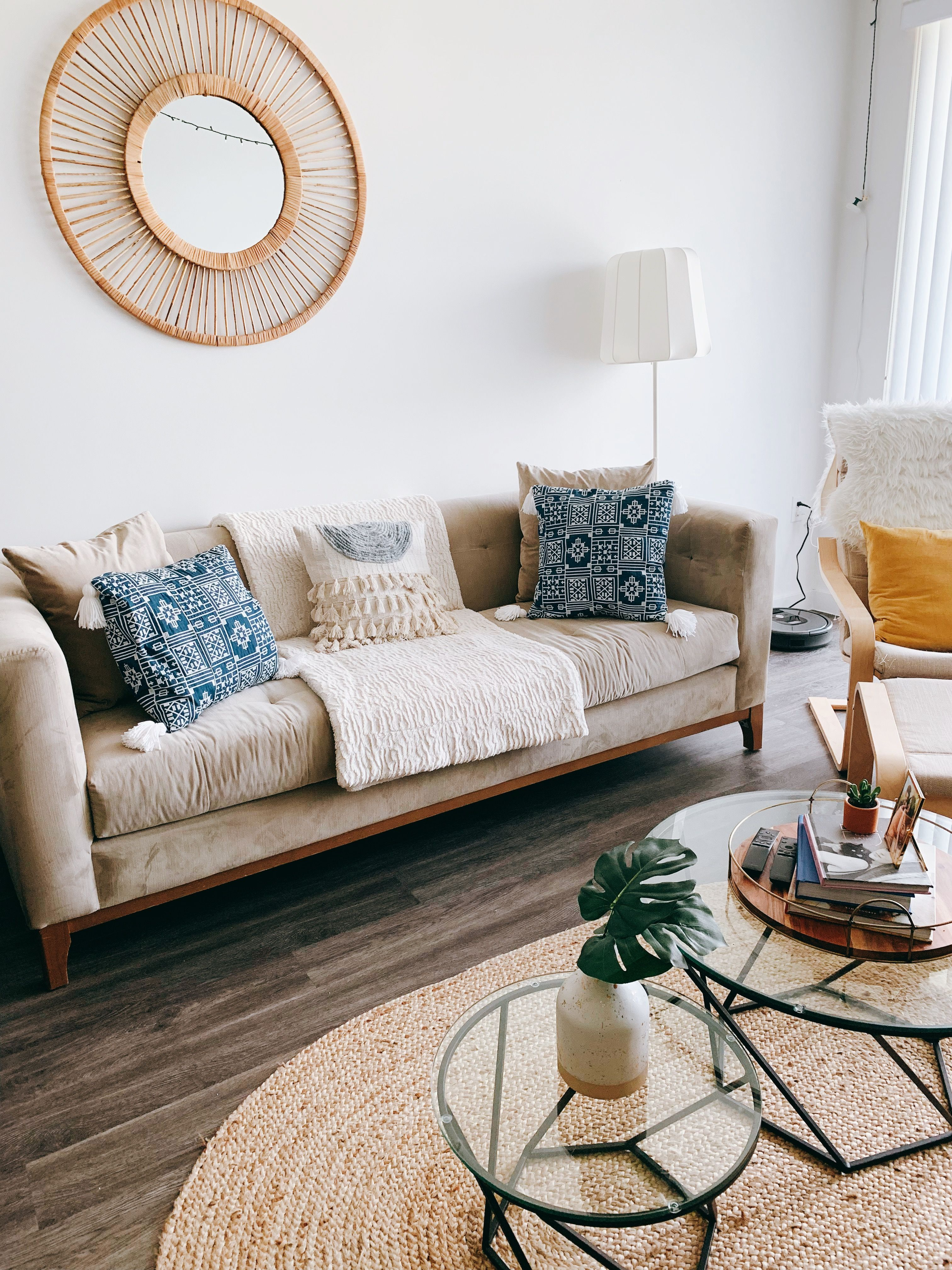 Circle Mirror Beige Couch Boho Style Boho Living Room Beige