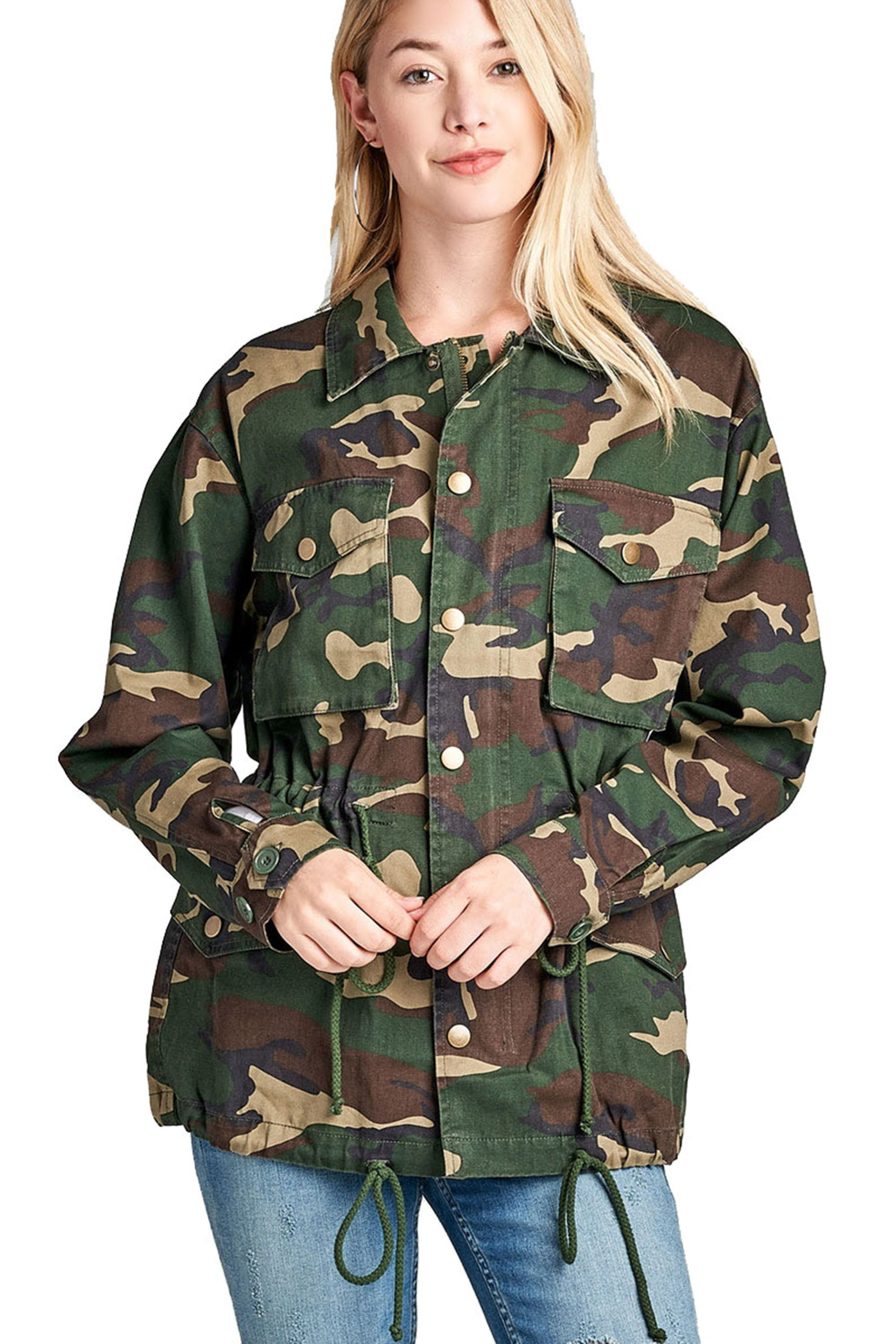 299b0a61e3e Khanomak Women s Oversized Camouflage Print Utility Long Jacket in ...