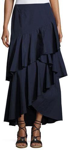 4b70faceef Alice + Olivia Martina Asymmetric Ruffle High-Low Maxi Skirt, Blue ...