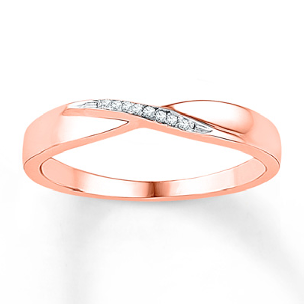 Diamond Ring 10k Rose Gold White Gold Rings Rose Gold Stackable Diamond Rings