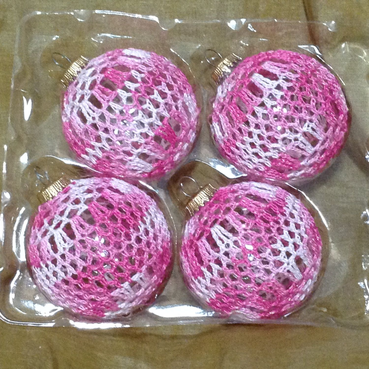 "4 Piece Set of Hand Crocheted 3"" Glass Christmas Ornaments - Wavy Pink & White by KnotsOnTheDouble on Etsy"