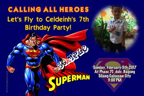 Card Superman Birthday Invitations Places To Visit Birthday