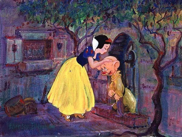 """A Goodbye Kiss for Dopey"" By Harrison Ellenshaw - Original Mixed Media on Canvas, 9 x 12.  #Disney #DisneyFineArt #SnowWhite #Dopey #HarrisonEllenshaw"