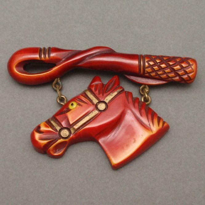 Bakelite Horse & Riding Crop Brooch Pin Vintage