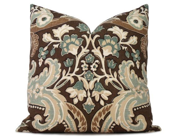 Brown And Blue Floral Pillow Cover Decorative Pillow