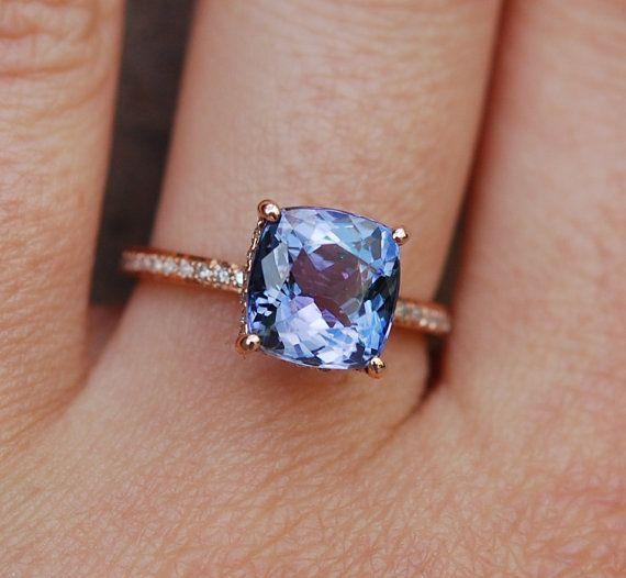 tanzanite ring rose gold engagement ring lavender blue. Black Bedroom Furniture Sets. Home Design Ideas
