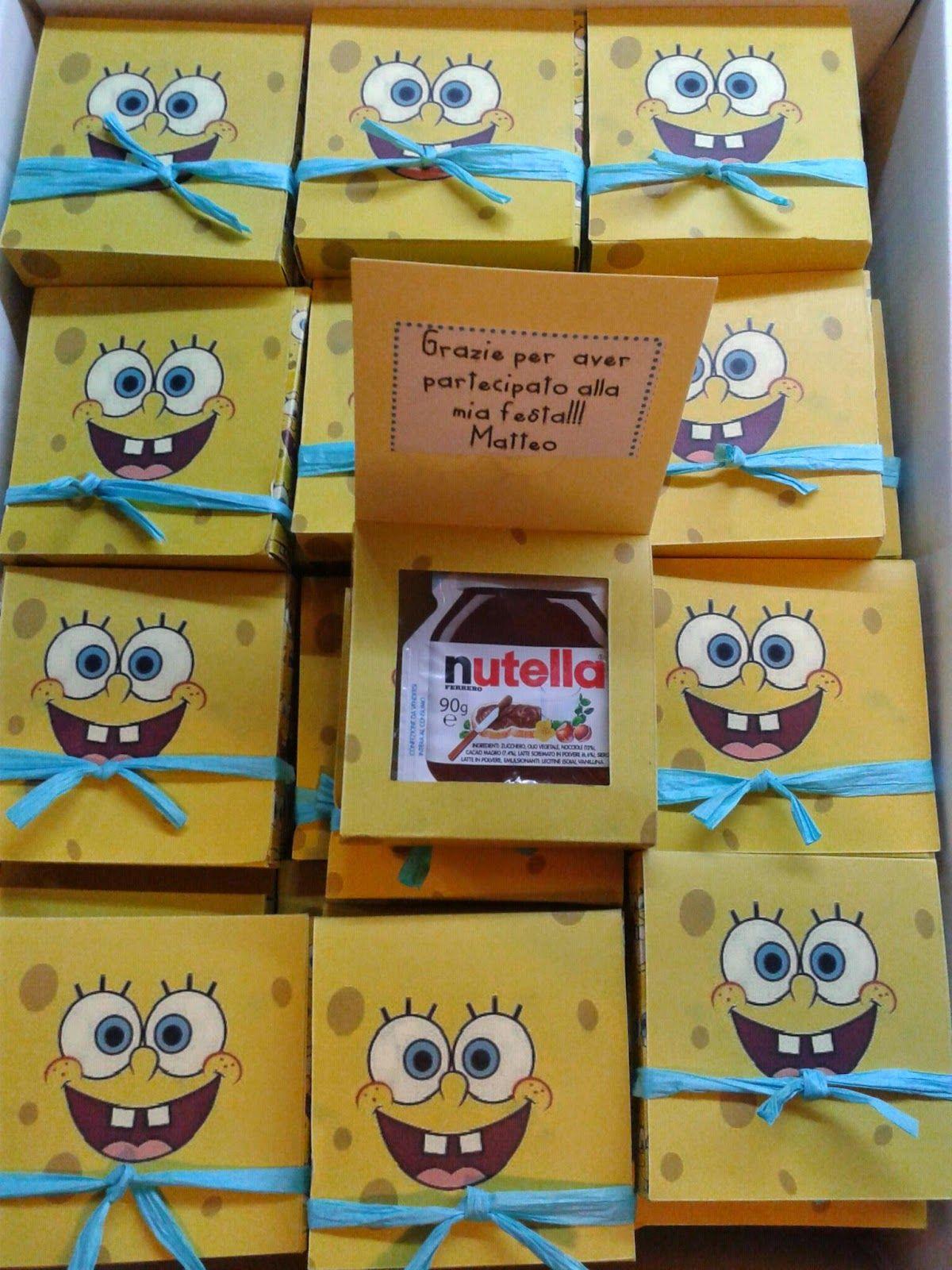 5f08f8e358 Acquista online Scatoline di Spongebob fatte a mano con la nutella  all'interno come regalino di ringraziamento per una festa di bambini .