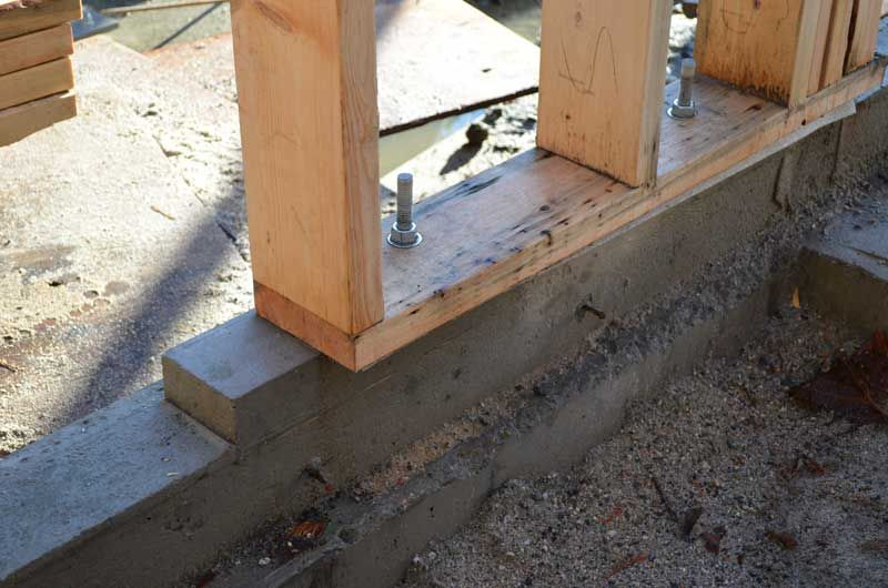 Wood sill plate over foam gasket and concrete foundation for Styrofoam concrete walls