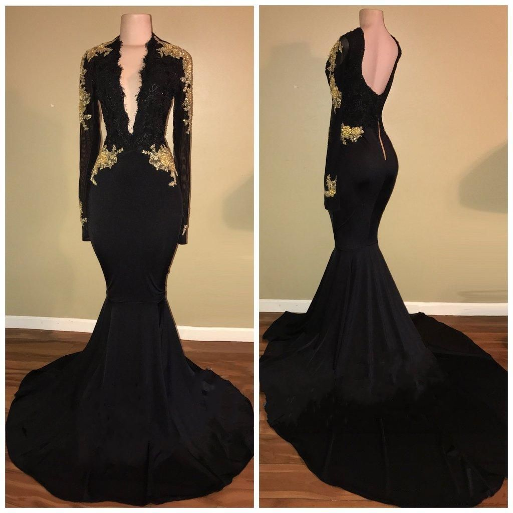 Sexy black mermaid prom dresses long sleeves vneck evening gowns