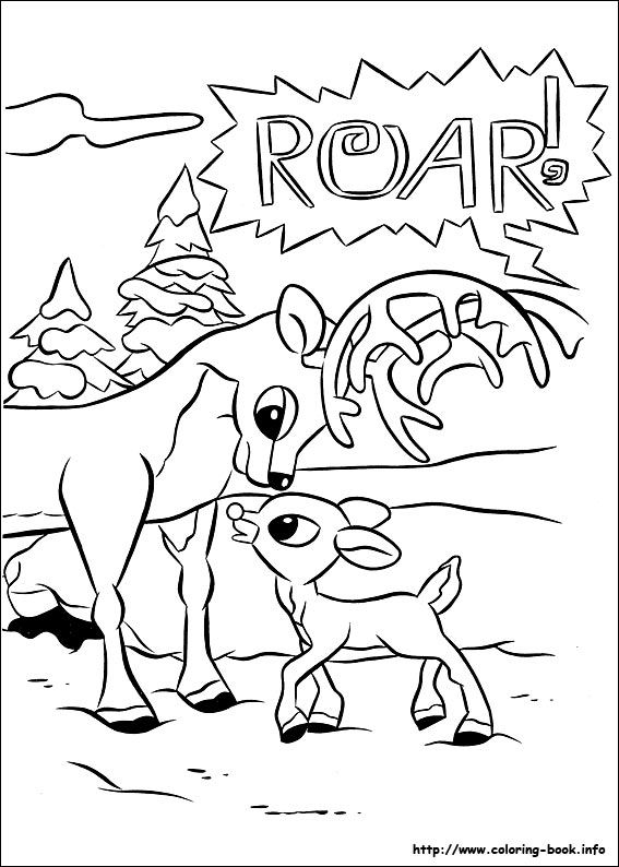 Rudolph the Red-Nosed Reindeer coloring picture | Goma Eva | Pinterest