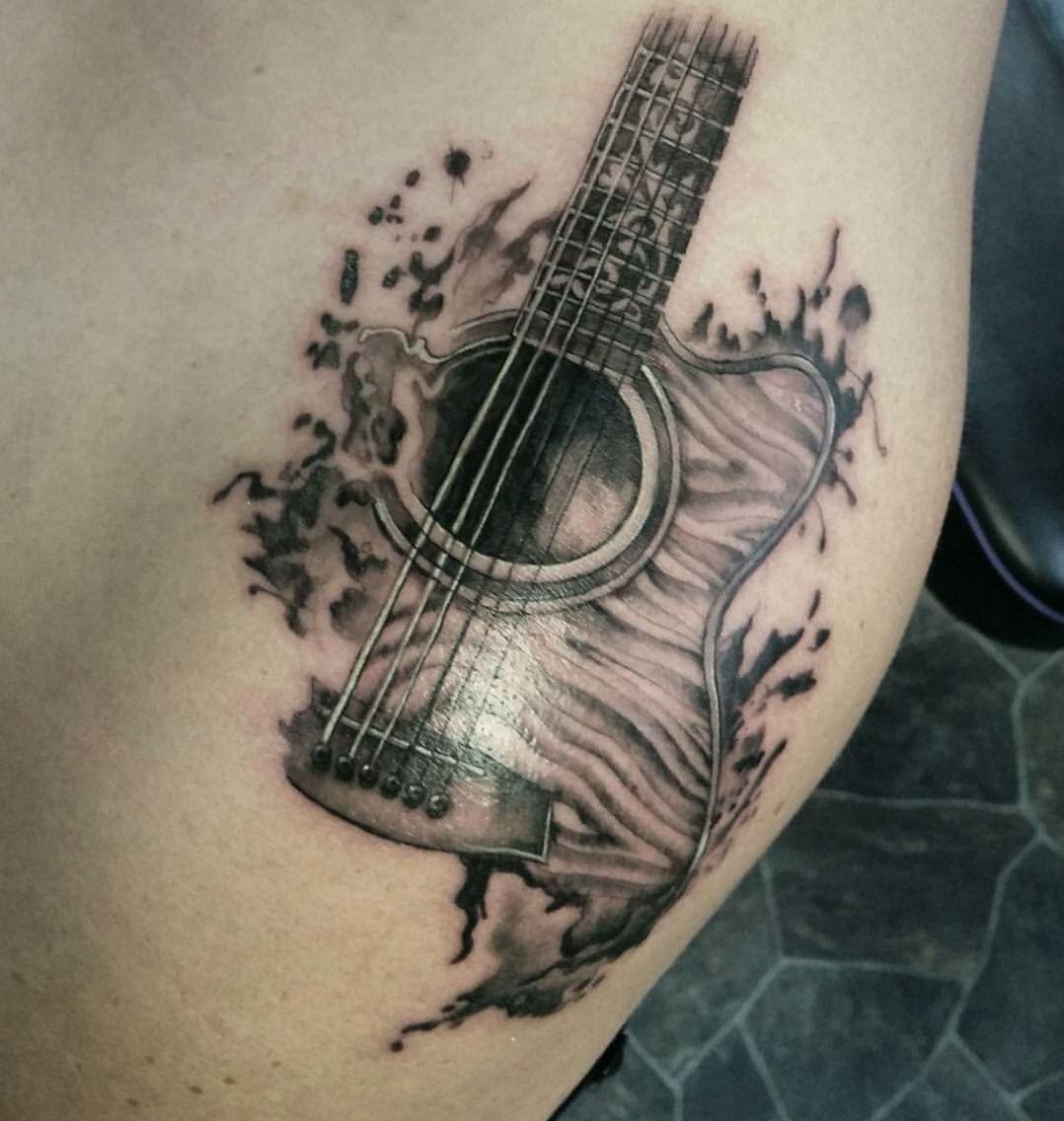 Tattoo Ideas Music: Tricky Guitar Shoulder Piece