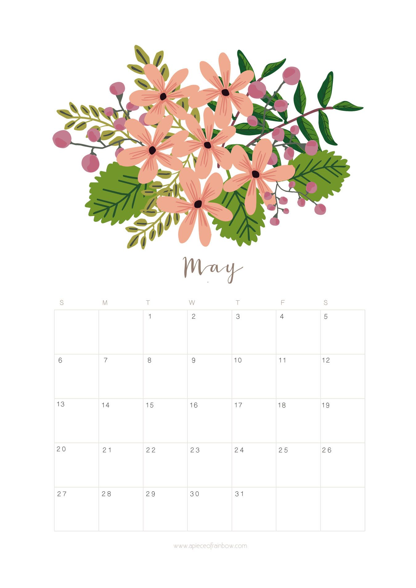 Calendar Flowers : Printable may calendar monthly planner flower
