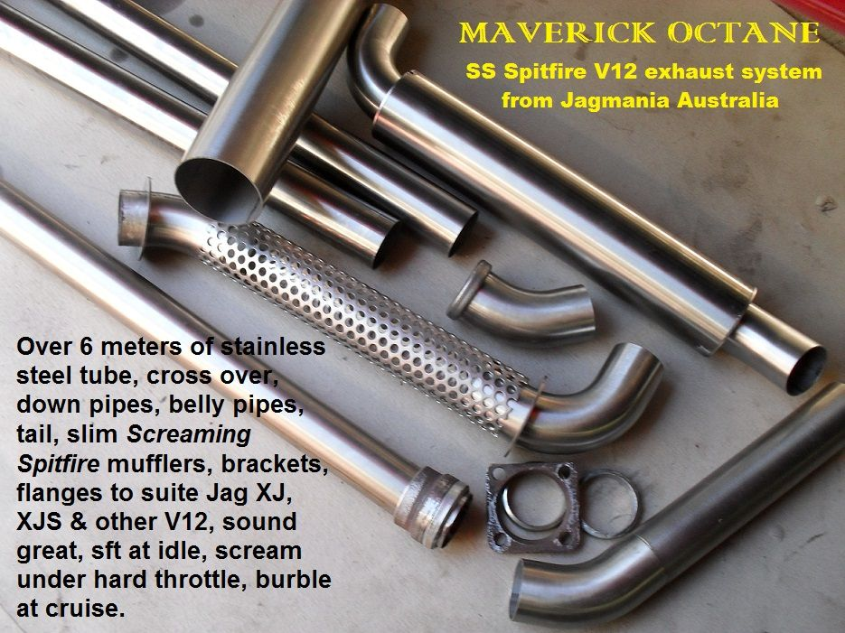 """Jaguar V12  'Screaming Spitfire'  exhaust system in stainless steel from Maverick Octane, a full bore dual 2"""" straight through system with special Helmholtz resonators, cross over pipe and ultra slim race style muffler, heavy wall thickness, anti-bark cones, slip fit joints, chassis hugger for max clearance, available in show polished or satin. Ideal for all V12 with high torque curves in the 4000 to 6000 rpm range."""