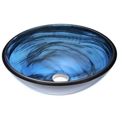 Anzzi Soave Series Deco Glass Vessel Sink In Sapphire Wisp Ls