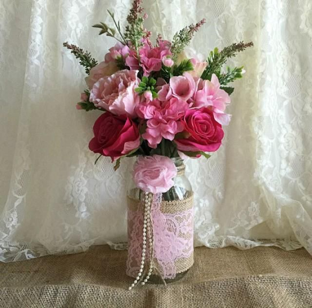 Pink Wedding Decoration Ideas: Pink Burlap And Lace Covered Mason Jar Vases