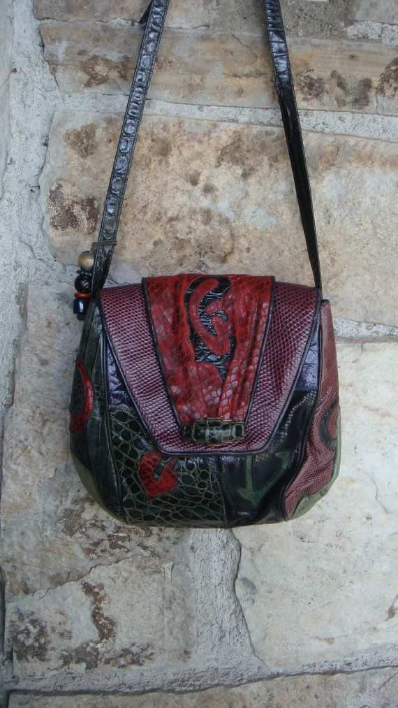 b724163f9b03 80s REPTILE PATCHWORK PURSE vintage Sharif by CherryBombVintage77