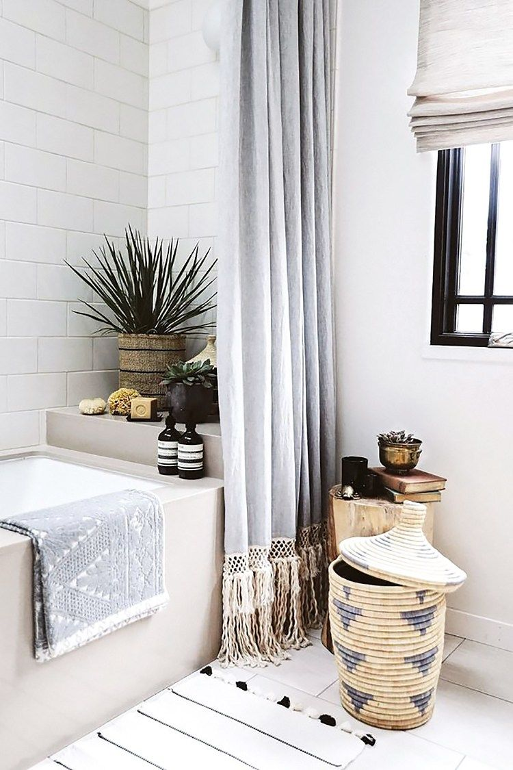 My Mid Century Bohemian Bathroom Inspiration Bath Inspiration Long Shower Curtains Extra Long Shower Curtain