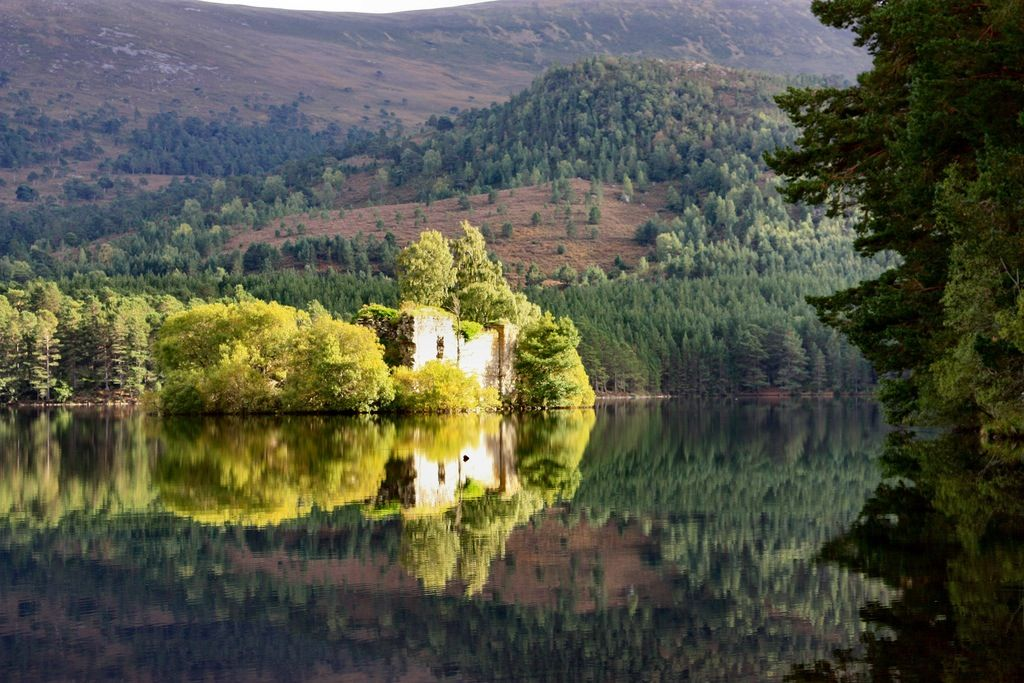 """This is the mysterious """"Lair of the Wolf of Badenoch"""" perched on a little island in the middle of Loch-an-Eilean...and the site figures importantly both in the historical novel ISLAND OF THE SWANS and in it's contemporary spin-off, THAT AUTUMN IN EDINBURGH..."""