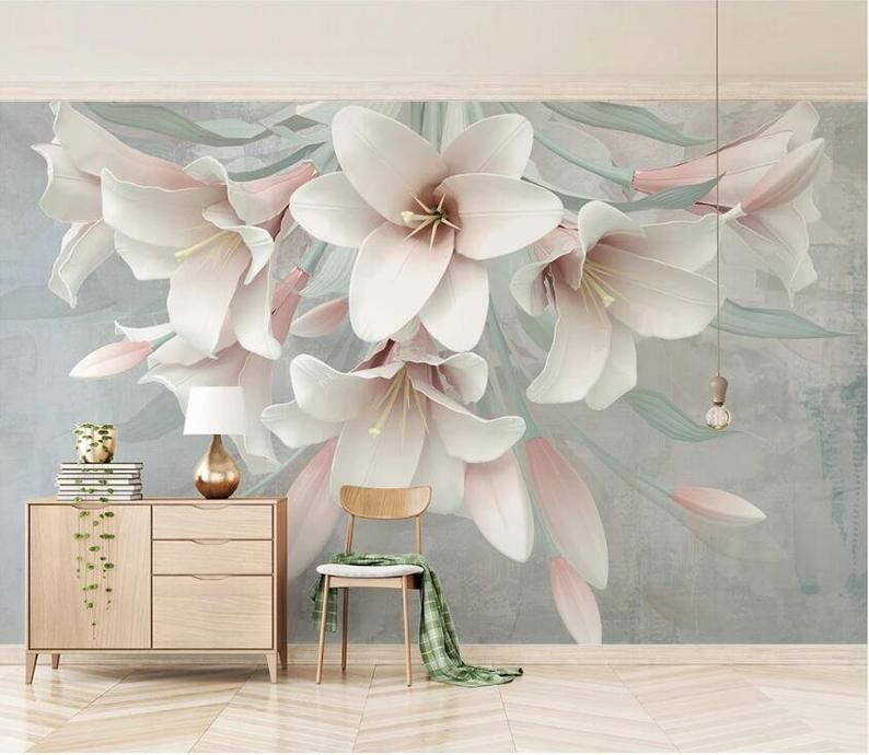 3d Elegant Lily Gngn1883 Wallpaper Mural Decal Mural Photo Etsy In 2021 Home Wallpaper Wallpaper Living Room Adhesive Wall Art