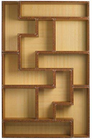 Tetris bookshelf, perfect for a game room.