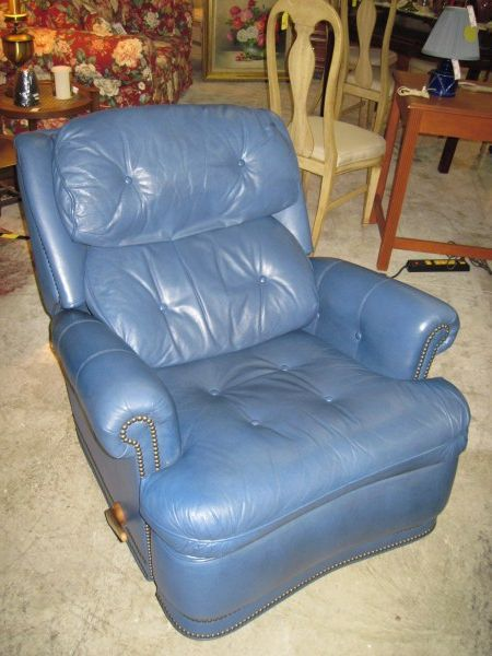 Best Swivel Rocker Blue Leather Nailhead Recliner Home Decor 640 x 480