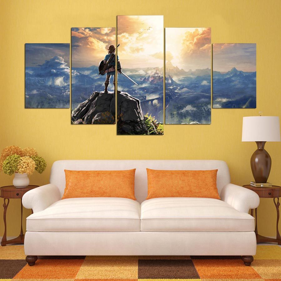 Canvas Painting Wall Pictures 5 Panel Game Wall Art Legend Of Zelda ...