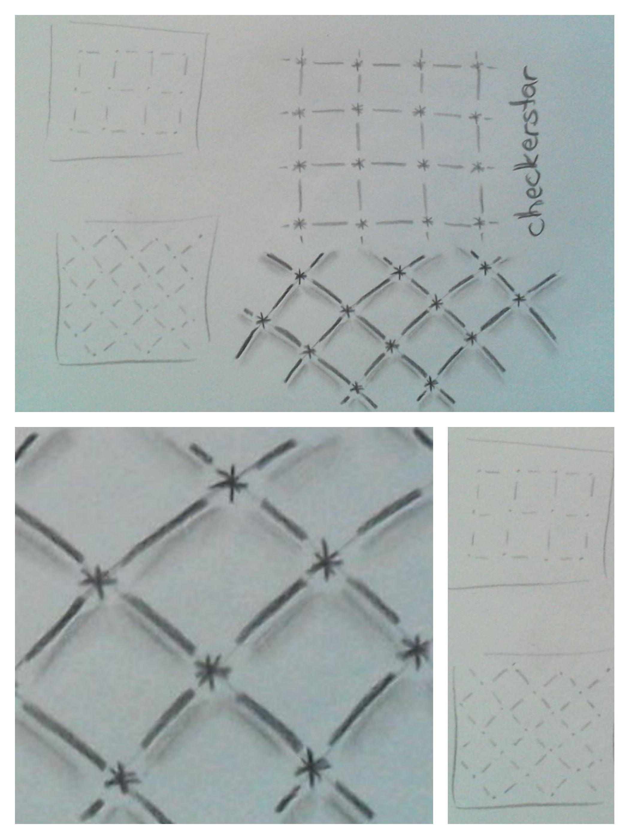 zentangle patterns: checkerstar - gefunden in \